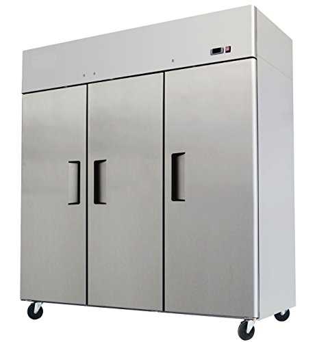 78' Triple 3 Door Side By Side Stainless Steel Reach in Commercial Refrigerator, MBF-8006, 72 Cubic Feet