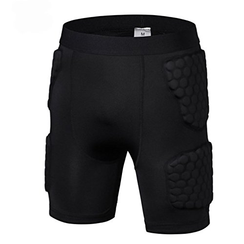 Men's Padded Shorts Compression Protective Underwear Hip Butt Pad Short for Basketball Football Soccer Hockey Bike Cycling Rugby Parkour Paintball Snowboard Ski Volleyball Training Shorts Size XL