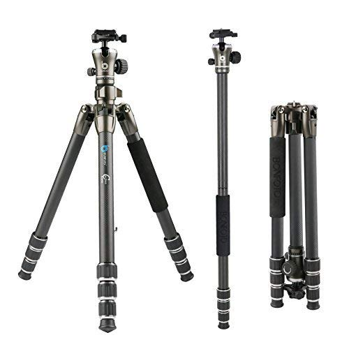 BONFOTO B671C Carbon Fiber Lightweight Portable Camera Travel Tripod with Ball Head, Two Levels and Carrying Bag for DSLR, Bronze Grey