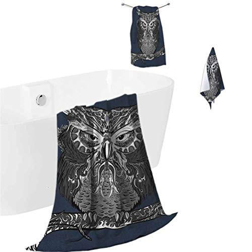 Indie Beach Towel Set Owl with Vintage Style Ornaments Wisdom Symbol Creature of Night Fitness Towel Set Dark Blue Charcoal Grey White