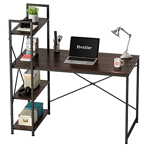 Bestier Computer Desk with Storage Shelves 47 Inch Home Office Desk Environmental-Friendly P2 Wood Easy Assembly Brown