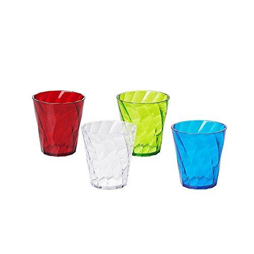 Omada Design Set 4 Bicchieri Colorati Acqua da 30 cl, in Plastica Infrangibile, resistenti e lavabili in lavastoviglie, Made in Italy, linea Diamond, Colori Trasparenti, Impilabili