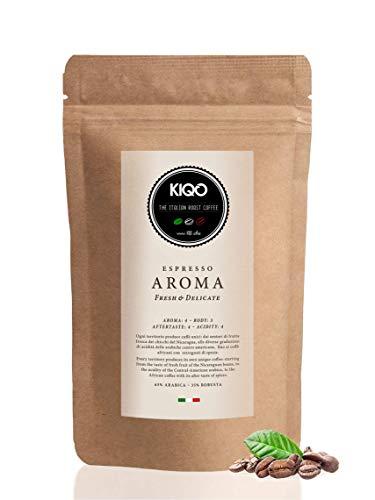 KIQO Aroma 250g Espresso aus Italien | in schonenden Kleinstchargen geröstet | säurearm | 65% Arabica & 35% Robusta Bohnen (250g - ganze Bohnen)