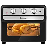 COSTWAY Air Fryer Toaster Oven, 6-in-1 Convection Air Fryer Oven, with Broil, Hot Air Broil, Toast, Bake, Air Fry, Dry Fruit, Countertop Toaster Oven, with 9 Accessories, 23Qt Large Capacity, 1700W, Black