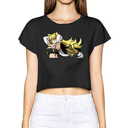 Vdaras Akame Ga Kill Leone Camiseta de Manga Corta para Mujer Negro Negro (XL