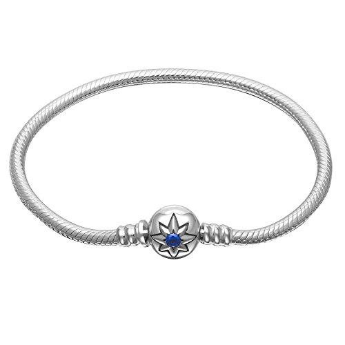 925plata de ley Basic encanto pulsera azul Star cierre cadena de serpiente pulseras