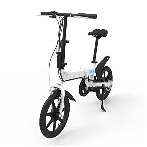 """SMARTGYRO Ebike White - Bicicleta Eléctrica, Ruedas de 16"""", Asistente al Pedaleo, Plegable, Batería extraíble de Litio de 4400 mAh, Freno V-Brake y Disco, Autonomía 30-50 Km, Color Blanco"""