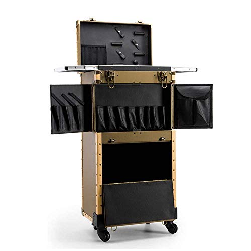 XBSLJ Makeup Train Case with Hair Dryer Holder Hairdressing Trolley Cosmetic Rolling Organizer Suitcase with Large Storage Box Beauty Salon Travel Cart with 4 Removable Universal Wheels,Gold