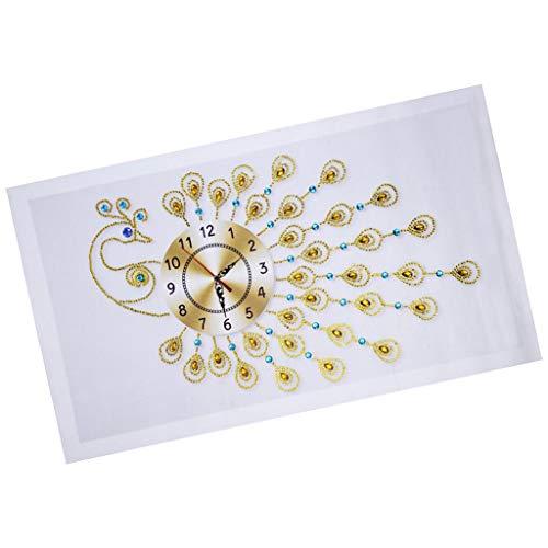 yotijar Kit de Pinturas de Bordado de Diamantes de Forma Especial Reloj de Pared - de Pavo Real