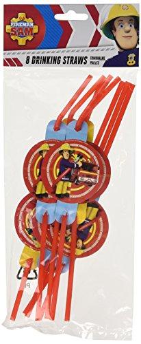 TIFANY- Sam Le Pompier Set de 8 Pailles Flexibles avec Médaillon, 8022836, Bleu, 13 x 2 x 32 cm