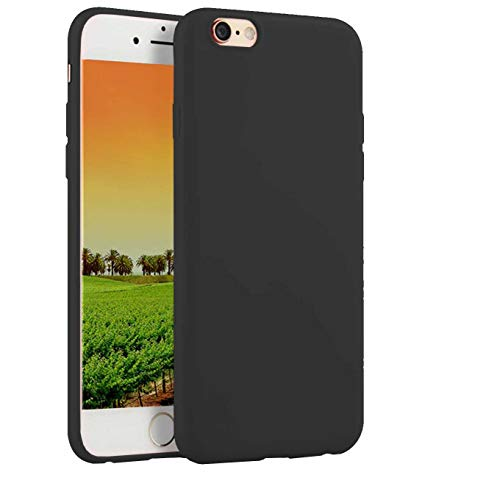 Compatible with iPhone 6 Plus and iPhone 6s Plus 5.5-Inch Case,Soft TPU Slim Thin Durable Anti-Scratch Shock-Absorption Resistant Shield Cell Mobile Phone Cover Case for Girls Women Man Boys,Black