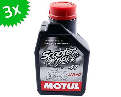 3 x 1 litro de aceite de motor Motul 4T 10W40 para Scooter Expert 3 litros de aceite de 4 tiempos