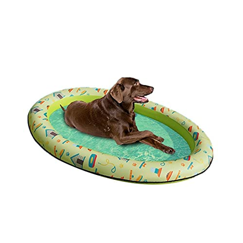 OMYLFQ Paddling-Pool für Hunde Hundepool Große extra große 140x96cm große aufblasbare Haustierhundkatze Wasser Spaß Spielzeug, zusammenklappbar für große Hunde (Color : Green, Size : Large)