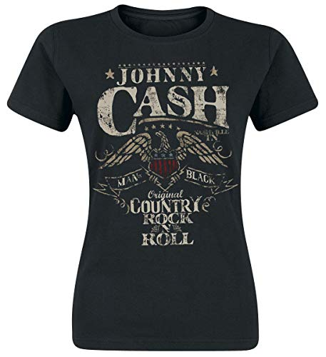 Johnny Cash Rock 'n' Roll Frauen T-Shirt schwarz S 100% Baumwolle Band-Merch, Bands, Rockabilly