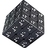 PLAFUETO 3D Stereo White Dot Blind Cube Embossed Print Rubiks Cube Smooth Easy Turning Speed Cube