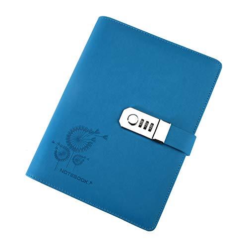Kreatives Notizbuch Tagebuch Dairy PU Leder A5 Schreib-Notizbuch mit Passwort liniert Schloss blau