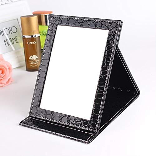 ZHOUSITONGEU 2 PCS Plein Stand Leather make-up spiegel Alligator Pattern draagbare make-up spiegel, Kleur: Zwart, Maat: M15x20.5x1.6CM