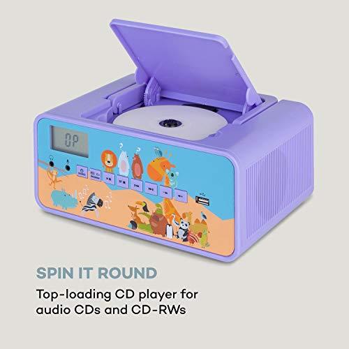 auna Kidsbox - CD Boombox, CD-Player, Handmikrofon, Bluetooth, USB-Port, LC-Display, Strom/Batteriebetrieb, 3,5 mm Klinkenanschluss für Kopfhörer, lila