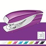 Leitz 55021062 Heftgerät (30 Blatt, Metall mit Kunststoffelementen, Inkl. Heftklammern, WOW, Blisterverpackung) metallic violett