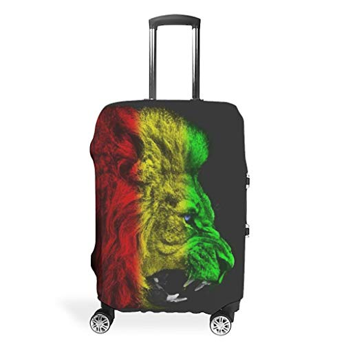 Travel Tiger Lion Animal-Mirror Suitcase Cover - 3D Printing 4 Sizes Suit for Most Trolley White 22-24in