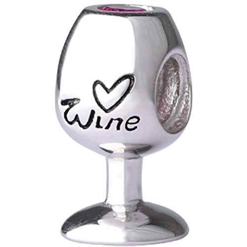 Colgante de Copa de Vino 925 Encanto de Copa de Vino de Plata esterlina DIY Pulsera Collar Accesorios de joyería Encanto de la Amistad con circonita Chram para Regalos de decoración