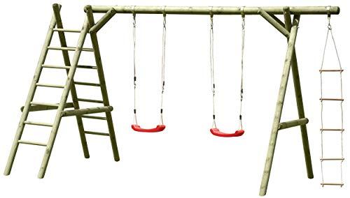 Gartenpirat Schaukelgestell Holz mit 2 x Schaukelsitz, Leiter und Strickleiter, TÜV-geprüft