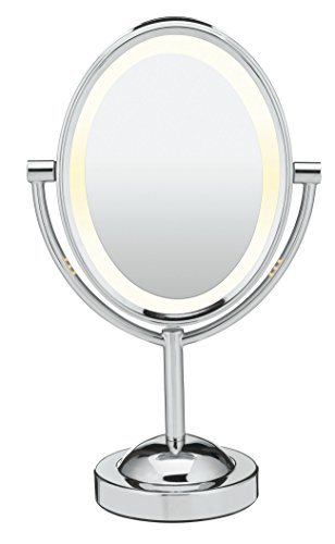 Conair Oval Double-Sided Lighted Makeup Mirror, Chrome