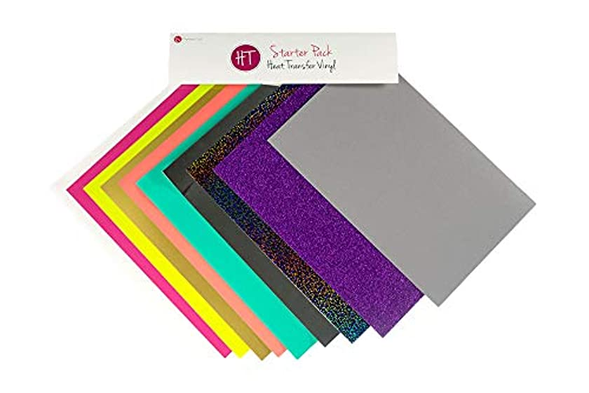 Expressions Vinyl - Heat Transfer Vinyl Starter Pack - Siser EasyWeed, Glitter HTV, Siser StripFlock, Stretch, and Holographic (10 Piece Set)