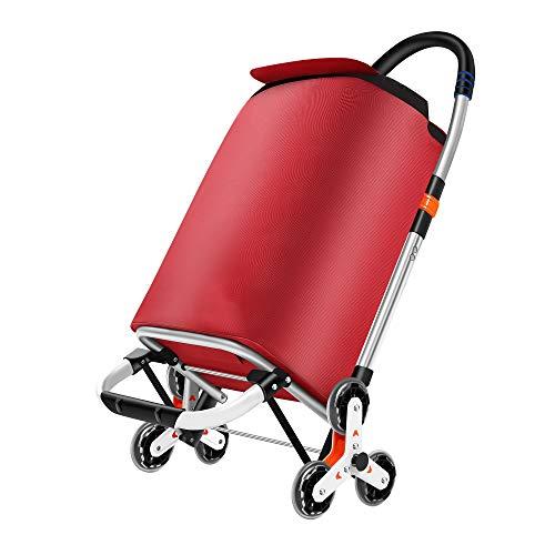 Carrito de compras plegable - Sistema de 3 + 3 ruedas - Ideal para subir escaleras - Fabricado en aleación de aluminio con resistente bolsa de poliéster impermeable