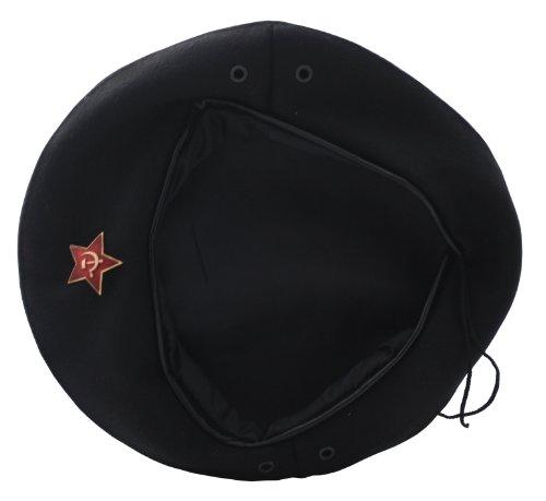 Ganwear® UDSSR Sowjetisch Russische Armee Uniform Schwarz Che Guevara Baskenmütze Hutkappe Großes Abzeichen