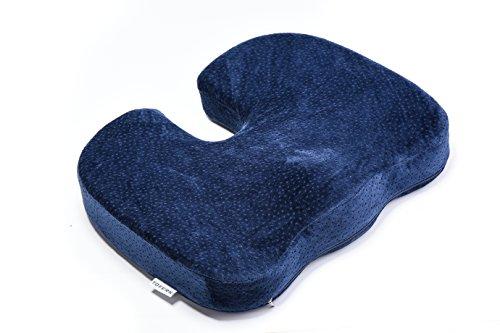 Tofern Steißbein Orthopädie Memory-Schaum Sitzkissen Autokissen Für Rückenschmerzen Steißbein Und Ischias Schmerzen - Dunkelblau, Samt