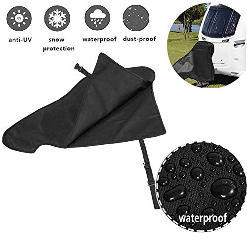 Xximuim Caravan Hitch Cover,Universal Waterproof Breathable Dust Rain Snow Dustproof Protector Tow Hitch Cover Tongue Jack Cover PVC Trailer Tow Ball Coupling Lock for Campervan & Caravan