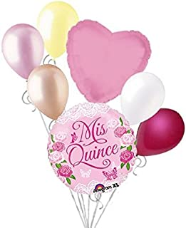 Jeckaroonie Balloons 7pc Mis Quince Pink Flowers Happy Birthday Balloon Bouquet Party Decoration 15th