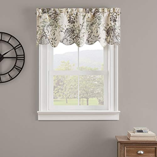 "Waverly Kensington Bloom Short Valance Small Window Curtains Bathroom, Living Room and Kitchens, 52"" x 18"", Grey"