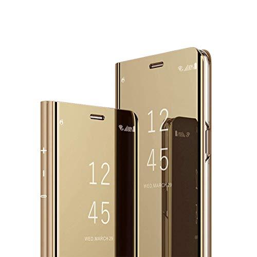 MRSTER J4 Core Hülle Clear View Standing Cover, Spiegel Handyhülle Schutzhülle Flip Hülle Schutz Tasche mit Standfunktion 360 Grad hülle für das Samsung Galaxy J4 Core J410. Flip Mirror: Gold