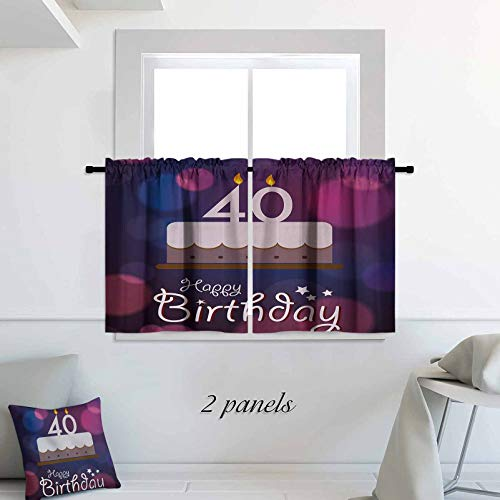 40th Birthday Short Panels for Kitchen Bathroom Big Color Dots and Graphic Cake with Candles Hand Writing and Stars Drapes Short Panels for Kitchen Bathroom 30 x 30 inch Purple Pink White