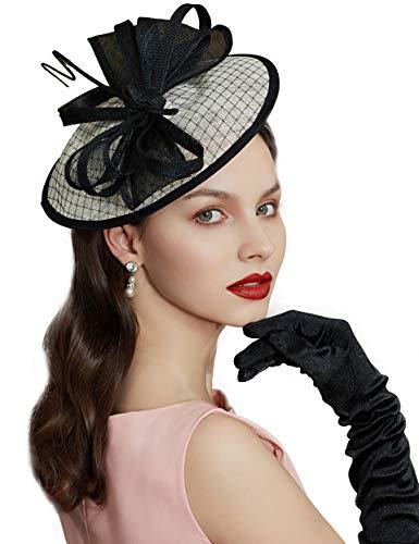 Coucoland Fascinators voor dames, elegante veer, bloemenfascinator, haarband voor bruiloft, cocktail, Engelse thee, party, paardenrace, haaraccessoire voor dames, carnaval, kostuum Stijl 2 - zwart wit