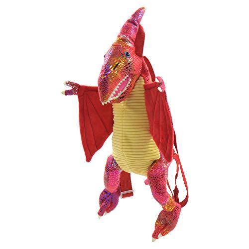 Kögler 85412 Dino Rugzak, voor kinderen, vliegtuig aurier, met glitterhuidschilfers, met dagengreep en in lengte verstelbare draagriem, ca. 50 cm groot, rood