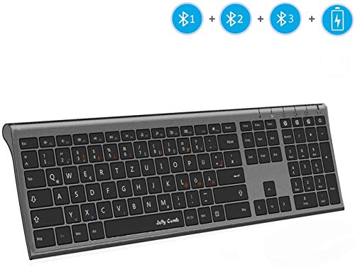 Jelly Comb Bluetooth-Tastatur, Multi-Device Ultra Dünn Kabellose Tastatur wiederaufladbar, Full-Size QWERTZ Funktastatur für PC, Tablet, Handy, Windows, iOS, Mac OS(Schwarz)