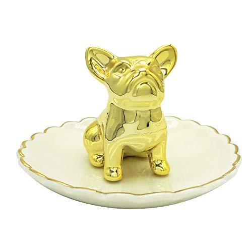 LUOYA Ceramic Bulldog Ring Holder Dish Jewelry Tray Plate Trinkets,Jewelry Ring Bowl, Dog Home Decor for Women Girl Wedding Birthday Gift
