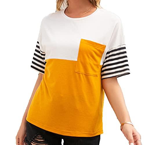 Primavera Y Verano, Camiseta Informal De Manga Corta con Cuello Redondo Y Costura A Rayas Sueltas para Mujer, Camiseta para Mujer