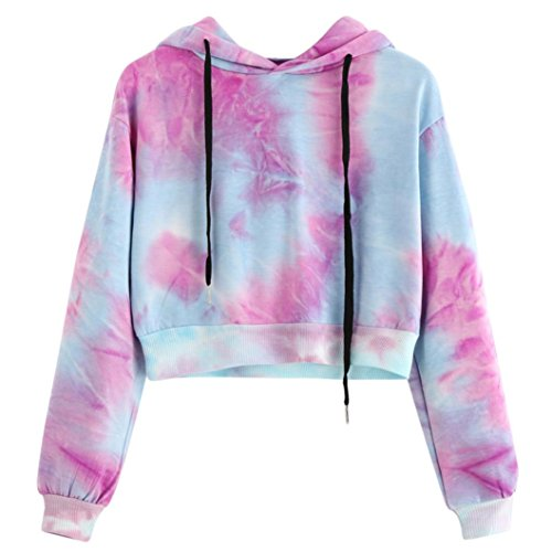 VENMO Damen Stickerei Hoodie Rundhals Langarm Sweatshirts Bluse Oberteile Kurz Gedruckte lange Hülse Kurzes Sweatshirt Hoodies Bluse Bunte Tie Dye Crop Tops Drucken Pullover Rosa Brief (S, Purple)