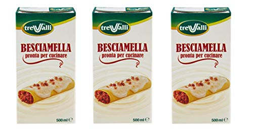 3X Trevalli Besciamella U.H.T Durable Classic Italian Bechamel Sauce Ready for Cooking 500ml Natural Ingredients