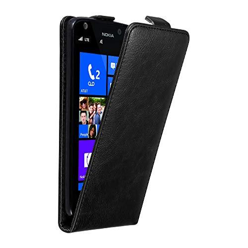 Cadorabo Hülle für Nokia Lumia 925 in Nacht SCHWARZ - Handyhülle im Flip Design mit Magnetverschluss - Case Cover Schutzhülle Etui Tasche Book Klapp Style