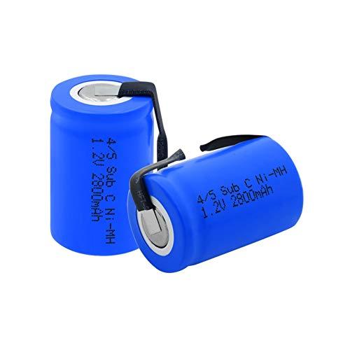 TTCPUYSA Batería Ni Mh De 1.2v 2800mah 4/5 Sub C (4/5sc), Recargable con LengüEtas De níQuel para Soldar para Herramientas EléCtricas Maquinilla De Afeitar EléCtrica 1Pieces
