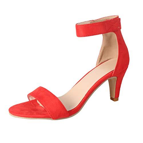 Sandalen Damen dünne High Heels Sommer Knöchelriemen Damen Pumps Schuhe (39,Rot)