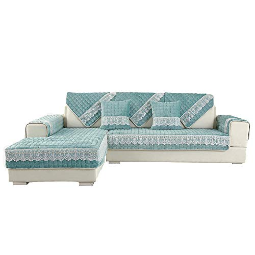 YUTJK Anti-slip Sofa Slipcover,Sofa Cover Four Seasons Universal,Pet Dog Couch Covers,Machine Washable Furniture Protector,For 2 Seater Sofa,Thick Plush Lace Sofa Cushion-Blue_70×120cm