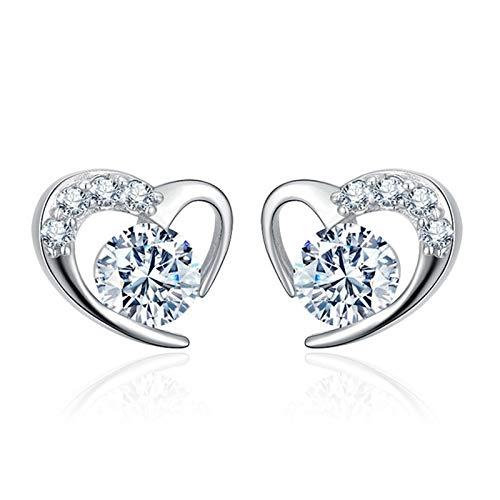 Amor romántico corazón brillante cristal perno pendientes pendientes de mujer joyería (Main Stone Color : Purple)