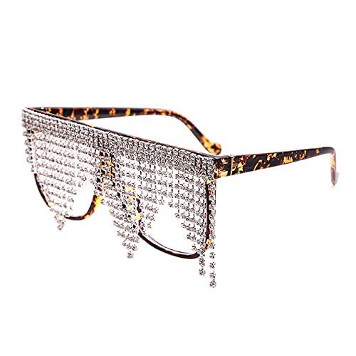 WOJING Montura de Gran tamaño con borlas Gafas de Sol Mujer Cristal Retro Moda Dama Anteojos Hombres Gafas UV400