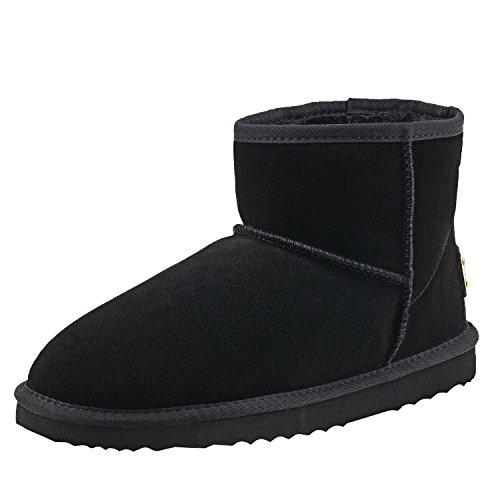 Shenduo Zapatos Invierno - Botas de Nieve de Piel Impermeable Antideslizante para Hombre D5645 Negro 43